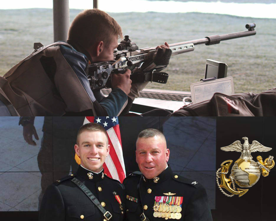 Top - U.S. Marine Corps Second Lieutenant David Higgins shoots his rifle in the World Championships in Granada, Spain, in September 2014.  Bottom - 2nd Lt. David Higgin with his father, Col. David A. Higgins (right) image at the new officer's commissioning ceremony on June 2, 2016 ... Image created by USA Patriotism! from a U.S. Marine Corps courtesy photo (top) and by Cpl. Logan Block (bottom)