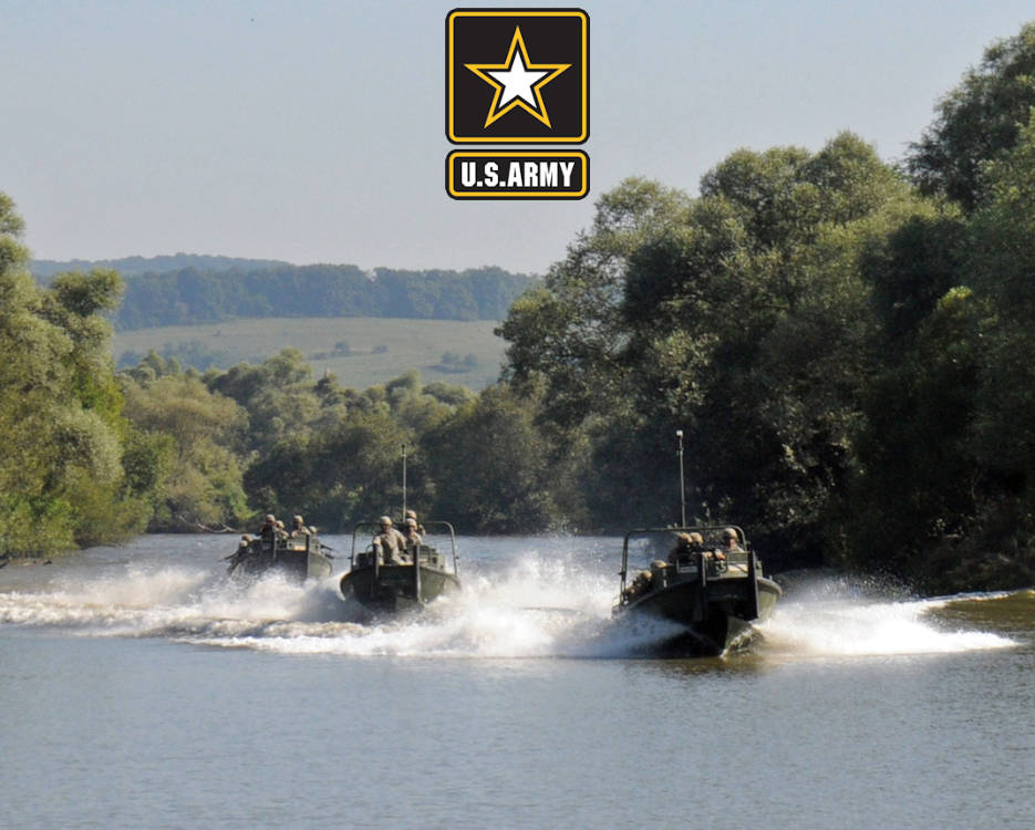 August 4, 2016 - U.S. Soldiers aboard MK2 Bridge Erection Boats race down the Olt River in Voila, Romania during a tactical river crossing demonstration. U.S. and Romanian military forces participated in the demonstration to showcase combined combat readiness for the Distinguished Visitor Day during Saber Guardian 16. Saber Guardian is a Romanian and U.S. Army Europe-led exercise designed to promote regional stability and security, while strengthening partnership capacity, and fostering trust while improving interoperability between Romania, the U.S., NATO and Partnership for Peace member nations. (Image created by USA Patriotism! from U.S. Army photo by Staff Sgt. Corey Baltos, 24th Press Camp Headquarters)