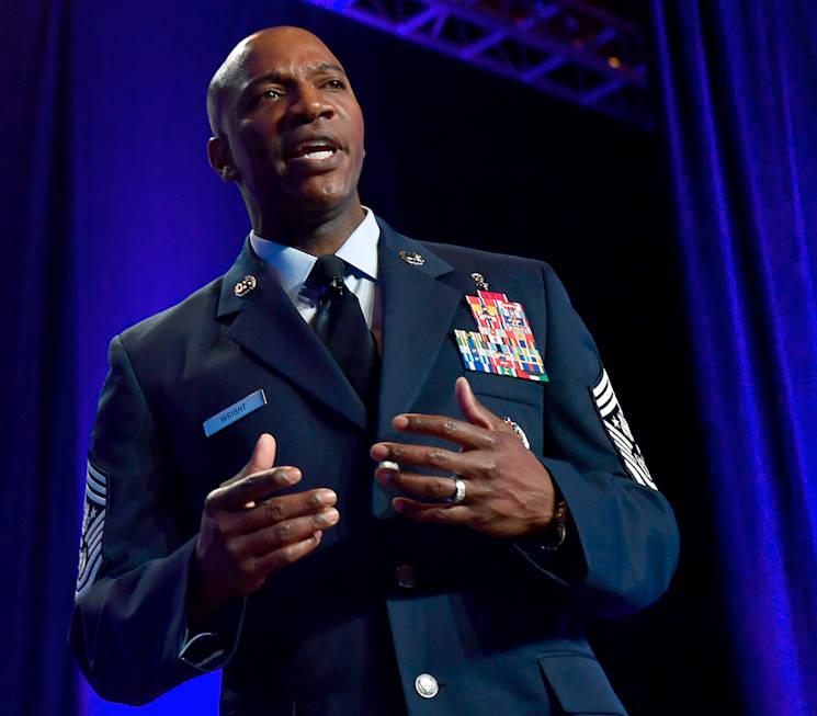 March 2, 2017 - Chief Master Sgt. of the Air Force Kaleth O. Wright speaks about leading Airmen at the Air Force Association Air Warfare Symposium in Orlando, Florida. (U.S. Air Force photo by Scott M. Ash)