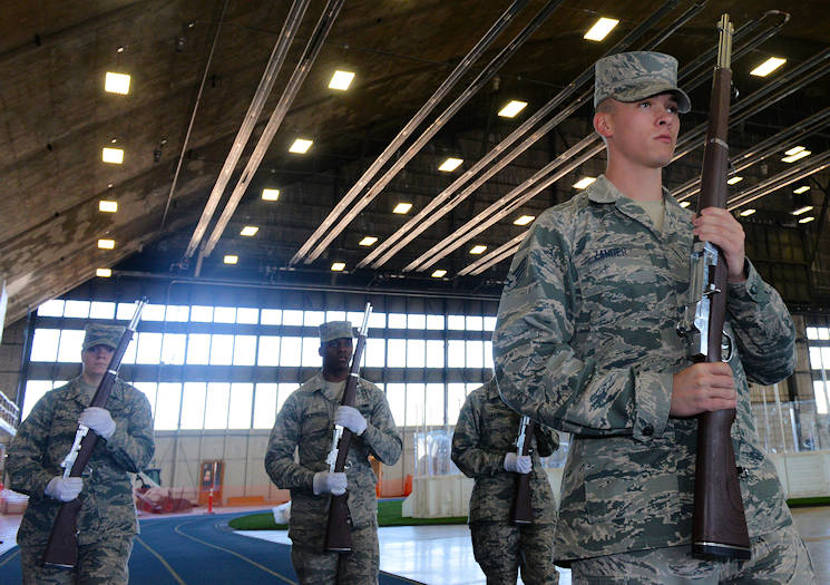 October 30, 2017 - Senior Airman Andrew Zander, a formal training instructor assigned to the United States Air Force Honor Guard, Joint Base Anacostia-Bolling, DC, leads Airmen from the Ellsworth Air Force Base, South Dakota Honor Guard in parade manuals at the Pride Hangar on base. This section of the training was the most advanced portion of the training class, it pushed Airmen to learn how to move fluidly with their weapons and maintain control while showcasing the skill and ability of the ceremonial guardsmen. (U.S. Air Force photo by Airman Nicolas Z. Erwin)