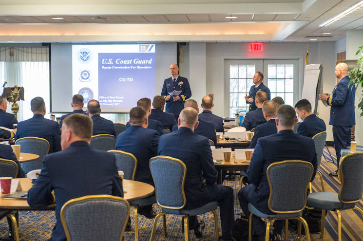 Senior leaders gather at the Coast Guard Academy in New London, Conn., from February27, 2017 through March, 3, 2017, for the Commanding Officer conference. The conference was packed with classes on topics such as cyber strategy, logistics and fleet priorities. U.S. Coast Guard photo by Petty Officer 3rd Class Nicole Barger)
