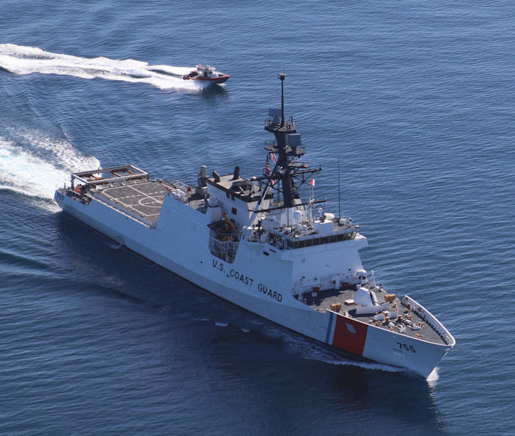 February 12, 2017 - Crew members aboard the U.S. Coast Guard Cutter Munro, a 418-foot national security cutter, and its small boat transit the Gulf of Mexico. National security cutters allow crews to protect U.S. borders. (U.S. Coast Guard photo by Seaman Courtney Fussell)