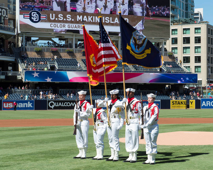 September 24, 2017 - Sailors assigned to the amphibious assault ship USS Makin Island (LHD 8) color guard present the colors during the national anthem at Petco Park, home of the San Diego Padres baseball team. (U.S. Navy photo by Mass Communication Specialist 2nd Class Eric Zeak)