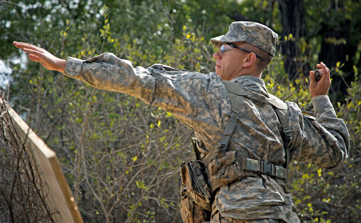 October 28, 2017 - Cadet Jordan Pineault, a Stephen F. Austin State University freshman, tosses a grenade during the warrior task event of the Ranger Challenge competition held at Fort Hood, Texas. (U.S. Army photo by Capt. Grace Geiger)