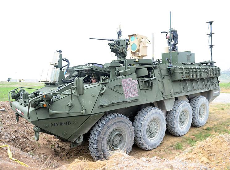 This Mobile High-Energy Laser-equipped Stryker was evaluated, April 12, during the 2017 Maneuver Fires Integrated Experiment at Fort Sill, Oklahoma. The MEHEL can shoot a drone out of the sky using a 5kW laser. (U.S. Army photo by C. Todd Lopez)
