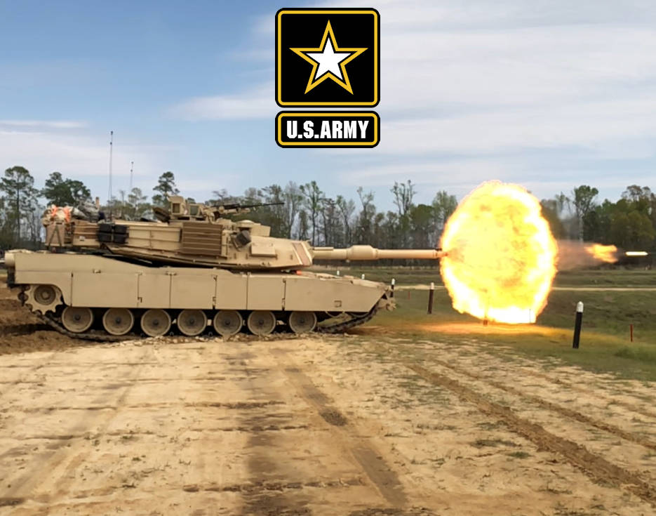 March 29, 2018 -  U.S. Army troopers with Delta Tank Company, 6th Squadron, 8th Cavalry Regiment, 2nd Armored Brigade Combat Team, 3rd Infantry Division, fire their main gun round at a target during unit gunnery, at Fort Stewart, GA. This gunnery marked the first time 2nd ABCT Troopers fired their newly received M1A1-SA Abrams Tanks since the brigade converted from a light to an armored brigade combat team. (Image created by USA Patriotism! from U.S. Army photo by Spc. Leo Jenkins)