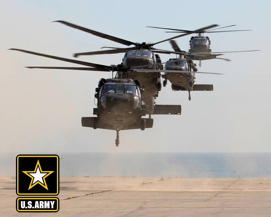 February 9, 2018 - U.S. Army UH-60 Black Hawk helicopters carrying distinguished visitors arrive for Army Day 2018 at Kuwait Naval Base, Kuwait. Army Day was the opening event for U.S. Central Command's Component Commanders Conference that allowed U.S. Army Central to showcase the Army's capabilities at the theater level. (Image created by USA Patriotism! from U.S. Army photo by Sgt. 1st Class Ty McNeeley, U.S. ARCENT PAO)