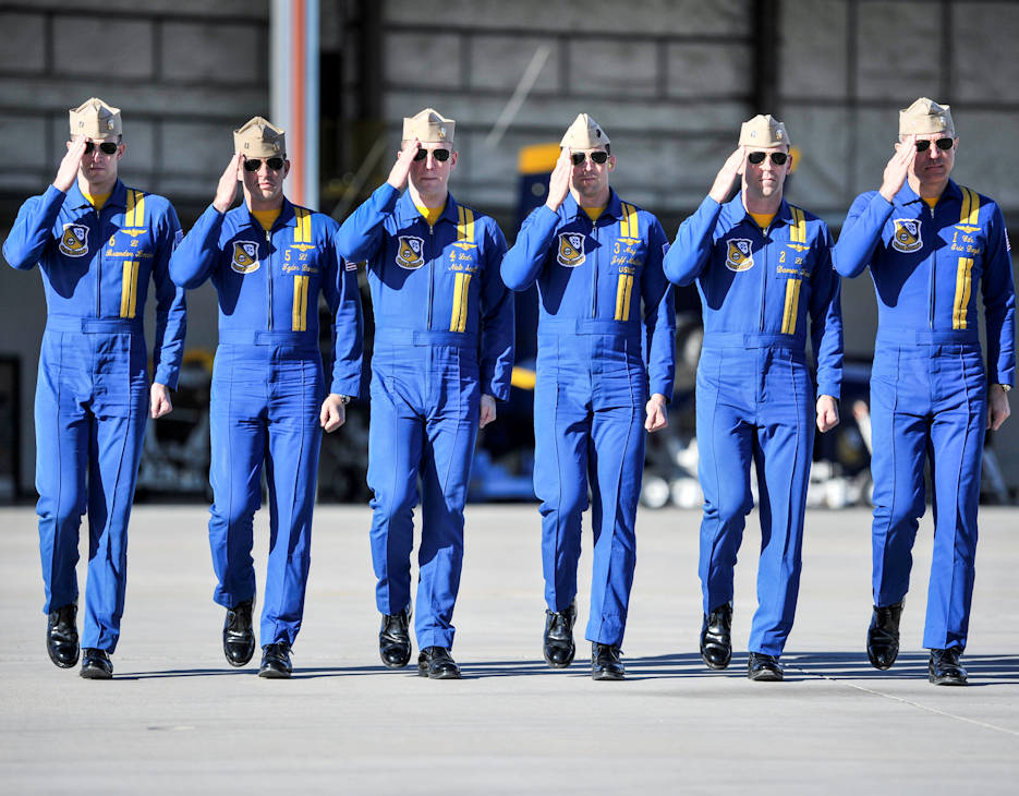 January 11, 2018 - Pilots assigned to the U.S. Navy Flight Demonstration Squadron, the Blue Angels, walk down the flight line before entering their jets during winter training at Naval Air Facility El Centro, California. Blue Angels pilots will complete more than 100 practice flights before the 2018 air show season. The Blue Angels are scheduled to perform more than 60 demonstrations at more than 30 locations across the U.S. in 2018. (U.S. Navy photo by Mass Communication Specialist 1st Class Daniel M. Young)