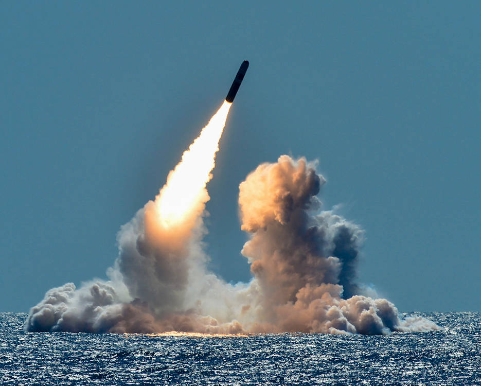 March 26, 2018 - An unarmed Trident II D5 missile launches from the ballistic missile submarine USS Nebraska in the Pacific Ocean off the coast of California, as part of a Navy Strategic Systems Programs test. (U.S. Navy photo by Mass Communication Specialist 1st Class Ronald Gutridge)March 26, 2018 - An unarmed Trident II D5 missile launches from the ballistic missile submarine USS Nebraska in the Pacific Ocean off the coast of California, as part of a Navy Strategic Systems Programs test. (U.S. Navy photo by Mass Communication Specialist 1st Class Ronald Gutridge)