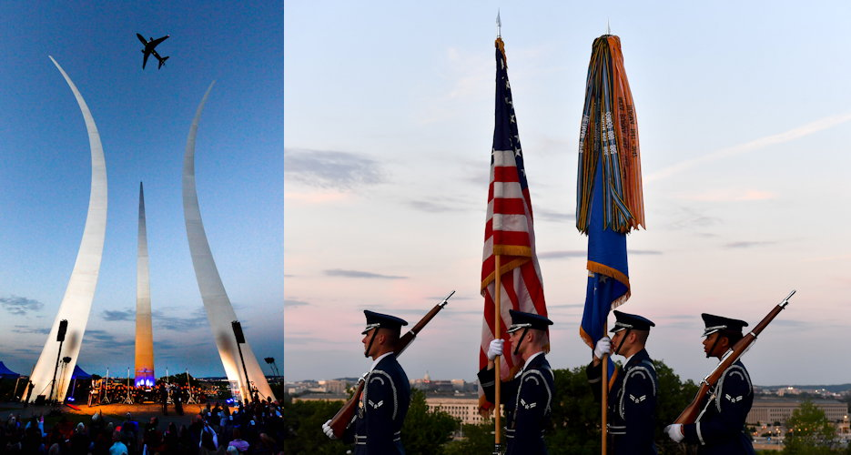 May 15, 2019 - Attendees to the Heritage to Horizons concert at the Air Force Memorial, Arlington, Virginia proudly enjoyed the performances including a flyover by a KC-46 Pegasus assigned to McConnell Air Force Base, Kansas and the Air Force Honor Guard presenting the colors. (Image created by USA Patriotism! from U.S. Air Force photos by Staff Sgt. Rusty Frank and Adrian Cadiz)