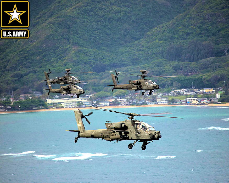 May 1, 2019 - The U.S. Army 25th Combat Aviation Brigade, 25th Infantry Division flies 19 AH-64 Apache helicopters in an organized formation around Oahu, Hawaii. The flight formation was in association with the 25th ID's 2nd Squadron, 6th Cavalry Regiment commemorating the 158th anniversary of the the regiment's activation. (Image created by USA Patriotism! from U.S. Army photo by Sgt. Ryan Jenkins)
