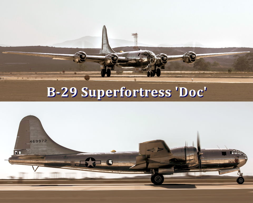 October 3, 2019 - The B-29 Superfortress 'Doc' takes off  from Marine Corps Air Station at Miramar, California after participating in a static display during the 2019 MCAS Miramar Air Show.  The 'Doc' is one of the two B-29's that are still capable of flying today. (Image created by USA Patriotism! from U.S. Marine Corps photos by Cpl. Raynaldo Ramos)