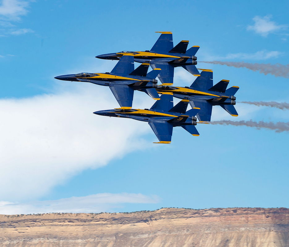 "July 27, 2019 - The U.S. Navy Flight Demonstration Squadron, the Blue Angels, diamond pilots perform the ""Diamond 360"" maneuver in a demonstration at the Grand Junction Air Show in Grand Junction, Colorado. (U.S. Navy photo by Mass Communication Specialist 2nd Class Christopher Gordon)"