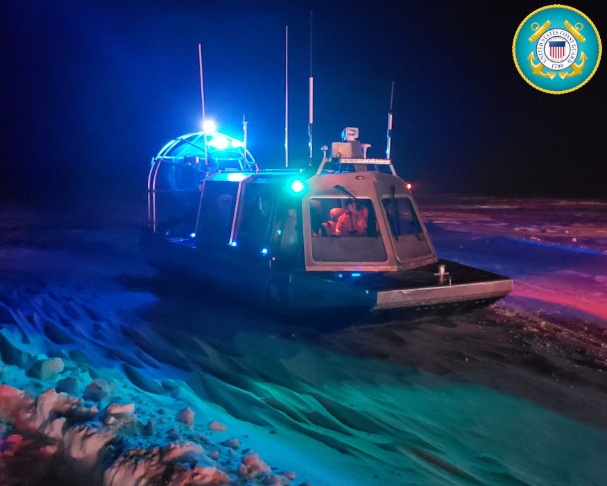 January 29, 2019 - A Coast Guard Station Sturgeon Bay boatcrew responds to seven people stranded on the ice in an ice shanty near Sturgeon Bay, Wisconsin. The fishermen were unable to make it back to shore due to inclement weather and difficulties with their utility task vehicle. (Image created by USA Patriotism! from U.S. Coast Guard photo by Petty Officer 2nd Class Garrit Speckhard)