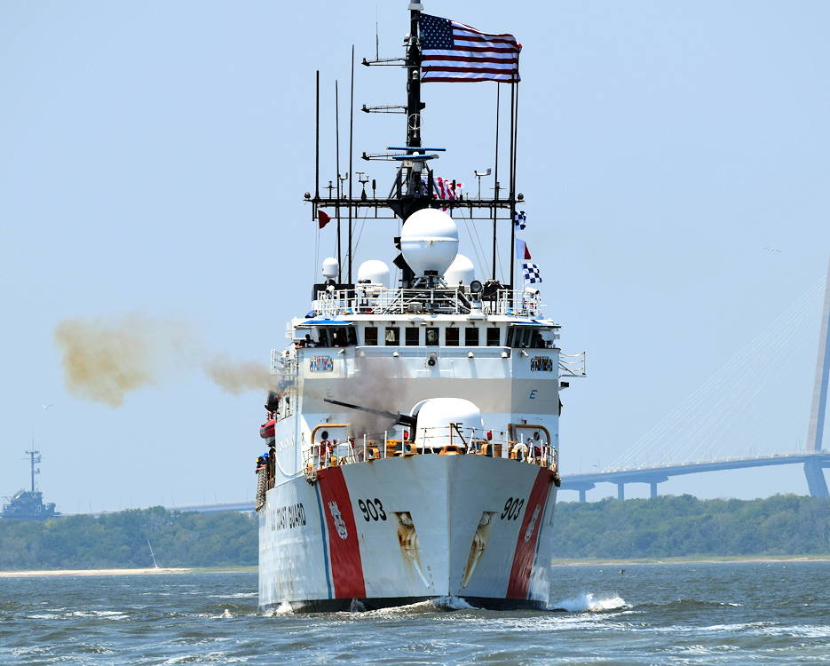 May 30, 2019 - The crew of the Coast Guard Cutter Harriet Lane fired a commemorative shot to honor the 158th anniversary of its namesake's action near Fort Sumter. (U.S. Coast Guard courtesy photo)
