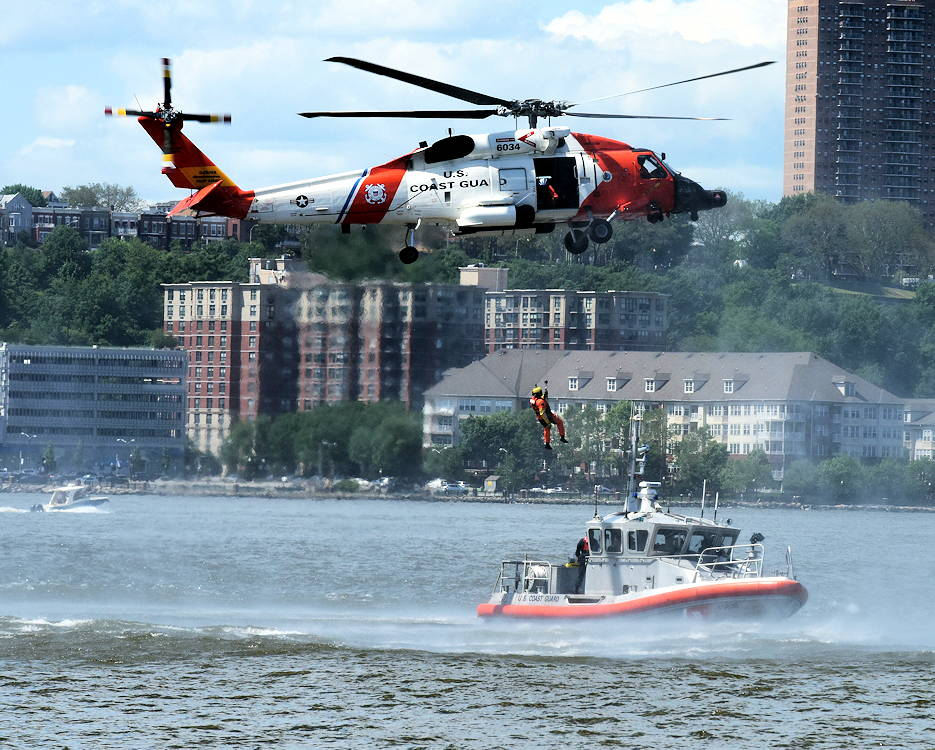 May 27, 2019 - The U.S. Coast Guard performs a search and rescue demonstration in the Hudson River near the Intrepid Sea, Air, and Space Museum pier in New York City during Fleet Week New York. The pier hosted a multitude of events, performances and displays from the U.S. Coast Guard, Navy, and Marines. (U.S. Coast Guard photo by Petty Officer 3rd Class John Hightower)