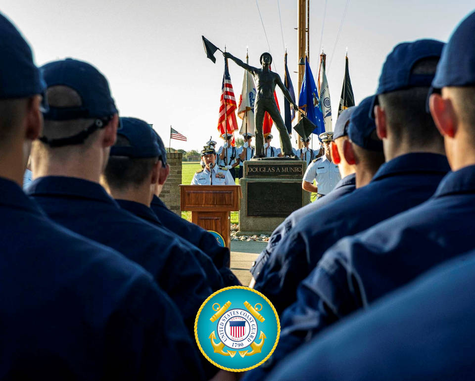 September 27, 2019 - U.S. Coast Guard Training Center Cape May holds a memorial ceremony for Medal of Honor Recipient Petty Officer 1st Class Douglas Munro near his statue on the parade field on base. It was the 77th anniversary of Munro's extraordinarily heroic actions at Guadalcanal during World War II. (Image created by USA Patriotism! from U.S. Coast Guard photo by Chief Warrant Officer 2 Timothy Tamargo)