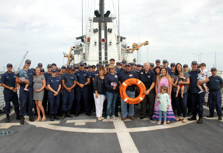 February 26, 2019 - The Coast Guard Cutter Vigilant crew enjoy being with family and friends upon their return to homeport at Port Canaveral, Florida. The Vigilant crew returned after a two-month Caribbean Sea patrol. (U.S. Coast Guard photo by Petty Officer 3rd Class Roberto Ebner)