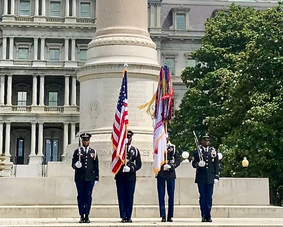 Members of the District of Columbia Army National Guard present the colors during a Memorial Day Ceremony on the grounds of the White House in Washington, DC May 27, 2019. The DCANG Capitol Guardians are regular participants at Memorial Day events around DC and take great pride in representing the city and the National Guard. (U.S. Army National Guard photo by SFC Ron Lee, District of Columbia National Guard)