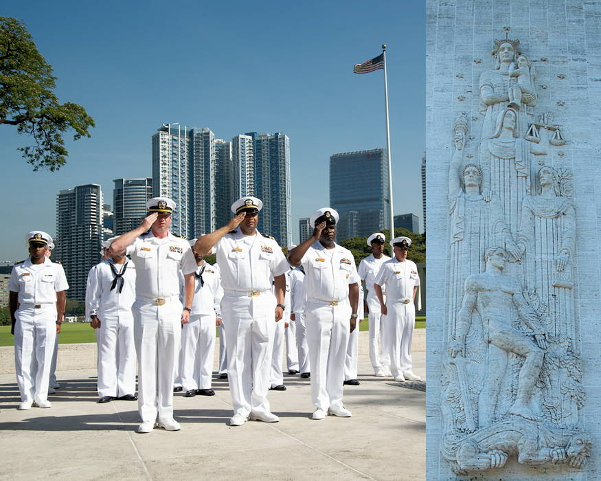 March 23, 2019 - Lt. Cmdr. Fred Crayton (center), commanding officer of the Avenger class mine countermeasures ship USS Chief (MCM 14), Executive Officer Lt. Cmdr. Joshua Cowart (left), and Command Senior Chief Patrick Lampley salute with fellow sailors at attention during a wreath-laying ceremony at the Manila American Cemetery and Memorial in Manila, Philippines, to honor the Filipino and American service members who lost their lives in World War II. Chief is visiting Manila while operating in U.S. 7th Fleet's area of operations to work with their Philippine Navy counterparts to strengthen regional security and stability, and enhance interoperability. (Image created by USA Patriotism! from U.S. Navy photos by Mass Communication Specialist 2nd Class Jordan Crouch)
