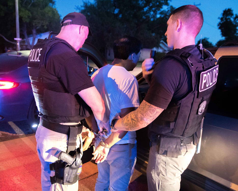 June 20, 2019 - ICE Enforcement and Removal Operations (ERO) arrest criminal fugitives as part of Operation Cross Check ... which involves U.S. Immigration and Customs Enforcement officers searching for and apprehended undocumented immigrants, who have been convicted of serious crimes. (U.S. Immigration and Customs Enforcement photo by Charles Reed)