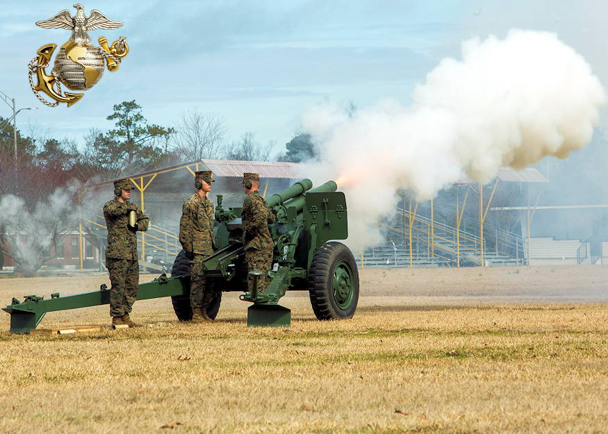 U.S. Marines with Bravo Battery, 1st Battalion, 10th Marines, 2nd Marine Division, host a 21 gun salute on Camp Lejeune, N.C., Feb. 18, 2019. The 21 Gun Salute, held in honor of Presidents' Day in accordance with Naval Regulations, is a brief ceremony during which guns are discharged 21 times at 5 second intervals. (Image created by USA Patriotism! from U.S. Marine Corps photo by Lance Cpl. Kensie S. Milner)