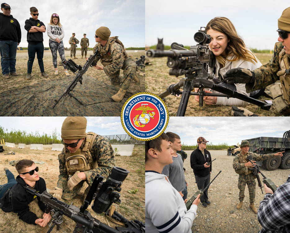 May 20, 2019 - U.S. Marines with 7th Marine Regiment, Special Purpose Marine Air Ground Task Force 7, demonstrate a M240 machine gun and a Portable Radio Communications 117 to  Junior Reserve Officer Training Corps cadets from West Valley High School, during exercise Northern Edge (NE) at Fort Greely, Alaska. Approximately 10,000 U.S. military personnel participated in exercise NE 2019, a joint training exercise hosted by U.S. Pacific Air Forces on and above central Alaska ranges and the Gulf of Alaska. (Image created by USA Patriotism! from U.S. Marine Corps photos by 1st Lt. Samuel S. Banks)