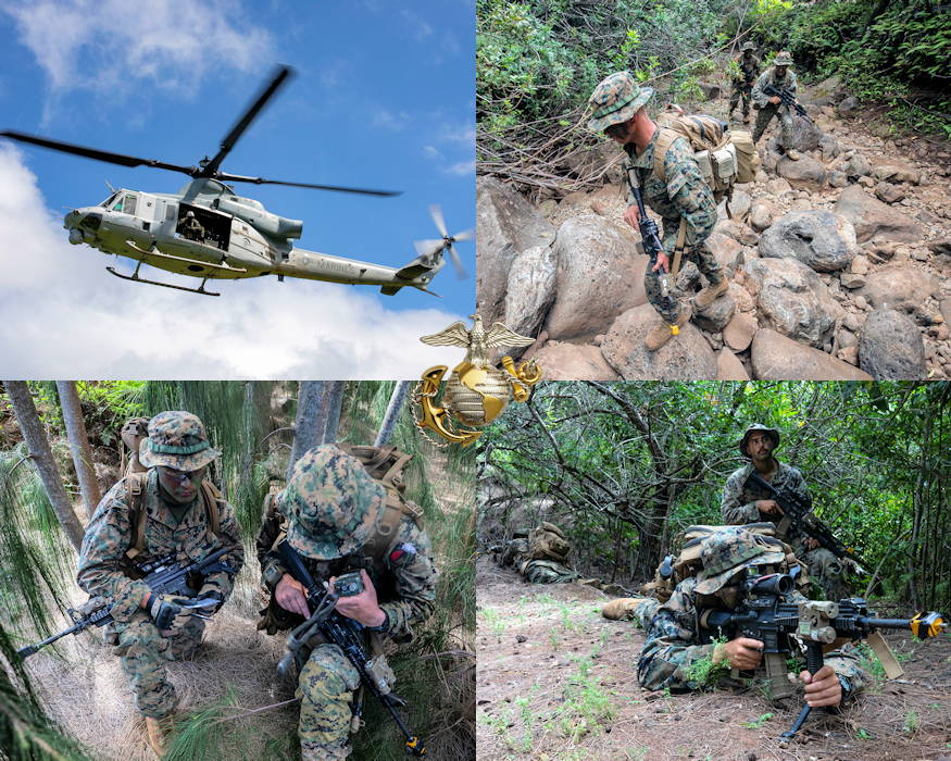 March 20, 2019 - U.S. Marines with Echo Company, 2nd Battalion, 3rd Marine Regiment conduct various jungle training ops including ... aerial reconnaissance utilizing small unmanned aerial systems and helicopters; establishing a patrol base to conduct jungle patrols; and, radio communications at the U.S. Army Kahuku Training Area situated on the slopes of the northern end of the Koolau Mountain Range on Oahu, Hawaii. This jungle themed event was part of the battalion's training event, Exercise Bougainville I, an annual training exercise that strengthens pre-deployment readiness. (Image created by USA Patriotism! from U.S. Marine Corps photos by Sgt. Jesus Sepulveda Torres)