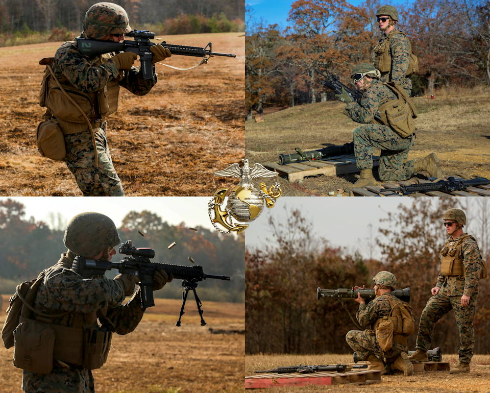 November 20, 2019 - Marines with Bravo Company, Marine Barracks Washington D.C. conduct a live-fire range during a field exercise at Marine Corps Base Quantico, Quantico, Virginia. The Marines conducted multiple training evolutions to become familiar with various weapon systems, pushing themselves to their limits to prepare for future operating forces of the Marine Corps. (Image created by USA Patriotism! from U.S. Marine Corps photos by Lance Cpl. Allen Sanders)