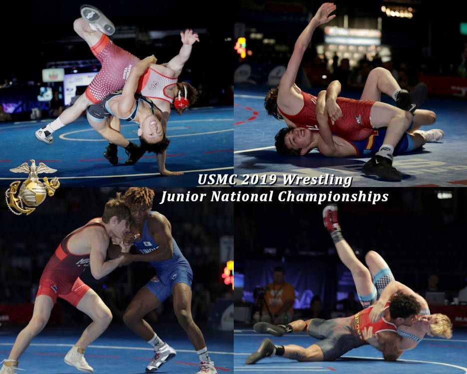 July 19, 2019 - Scenes of junior wrestlers participating in the U.S. Marine Corps Cadet and Junior National Championships in Fargo, North Dakota. (Image created by USA Patriotism! from U.S. Marine Corps photos by Cpl. Naomi May)