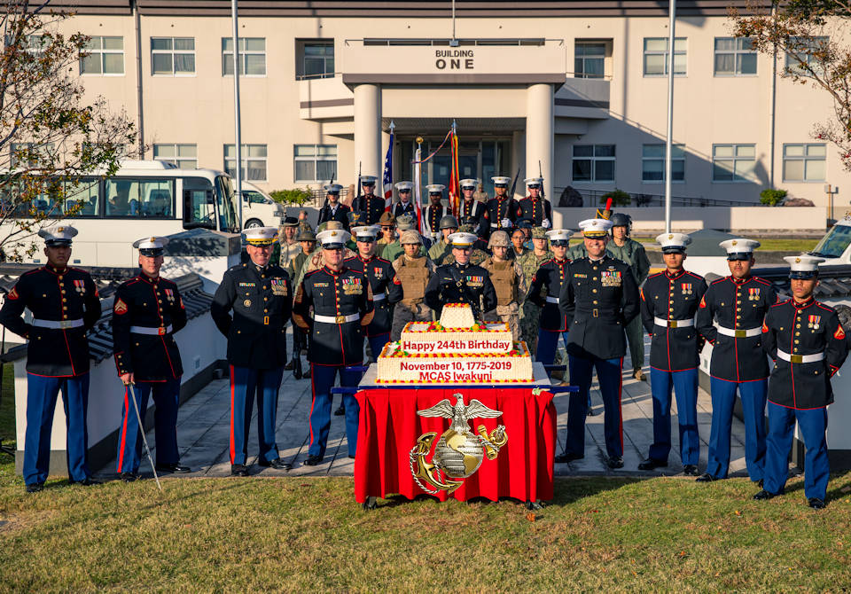 November 4, 2019 - U.S. Marines and Sailors from Marine Corps Air Station Iwakuni, take part in the 244th Marine Corps birthday uniform pageant at Marine Corps Air Station Iwakuni, Japan. The annual ceremony was held in honor of the 244th Marine Corps birthday. It included a historical uniform pageant to honor Marines of the past, present and future while signifying the passing of traditions from one generation to the next. (Image created by USA Patriotism! from U.S. Marine Corps photo by Sgt. Akeel Austin)