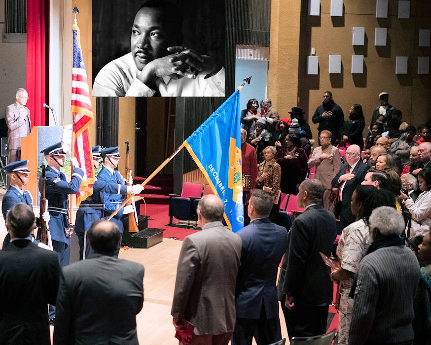 January 21, 2019 - The Dover Air force Base Honor guard presents the colors during the singing of the National Anthem at a Martin Luther King Jr. Day celebration at Delaware State University. Among those in attendance were Delaware Governor John Carney, Delaware Senators Tom Carper and Chris Coons, Delaware Congresswoman Lisa Blunt Rochester and Dover Mayor Robin Christiansen. (Image created by USA Patriotism! with an inset of Martin Luther King Jr. on a U.S. Air Force photo by Mauricio Campino)