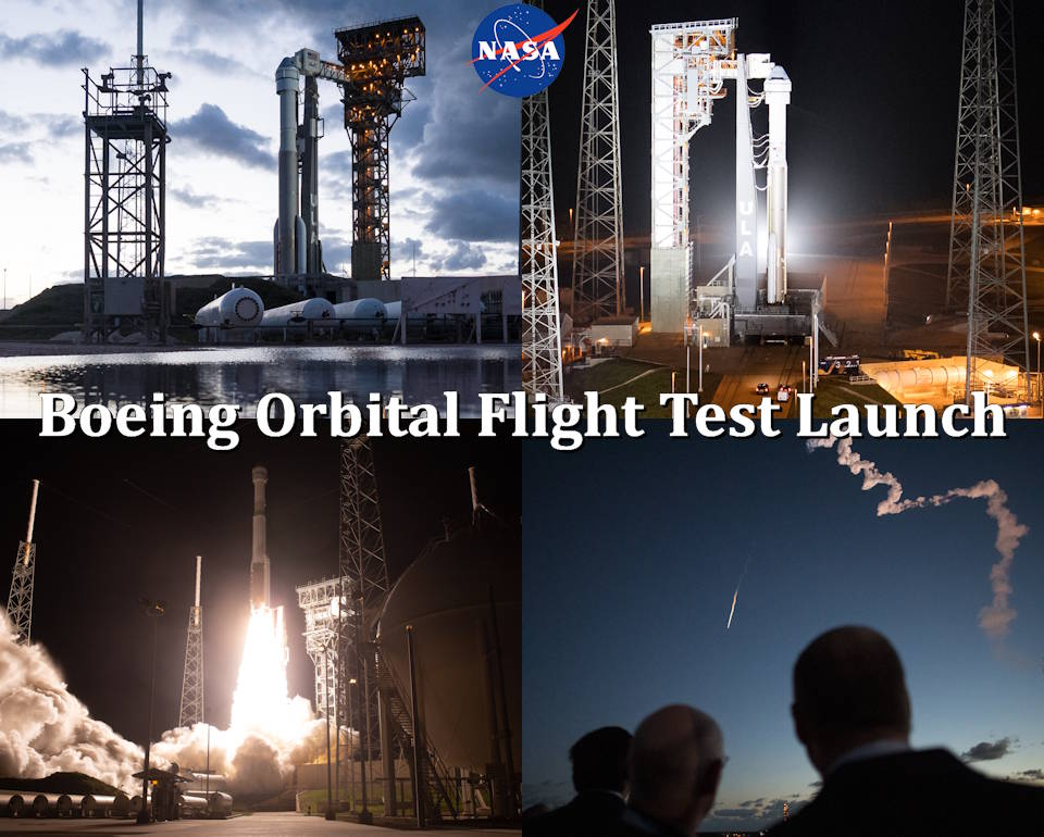 December 19-20, 2019 - Orbital Flight Test mission launch scenes of a United Launch Alliance Atlas V rocket with Boeing's CST-100 Starliner spacecraft onboard at Space Launch Complex 41 at Cape Canaveral Air Force Station in Florida. The uncrewed Orbital Flight Test is Starliner's maiden mission to the International Space Station for NASA's Commercial Crew Program. The mission officially launched at 6:36 a.m. EST on December 20, 2019 serving as an end-to-end test of the system's capabilities. (Image created by USA Patriotism! from NASA photo by Joel Kowsky)
