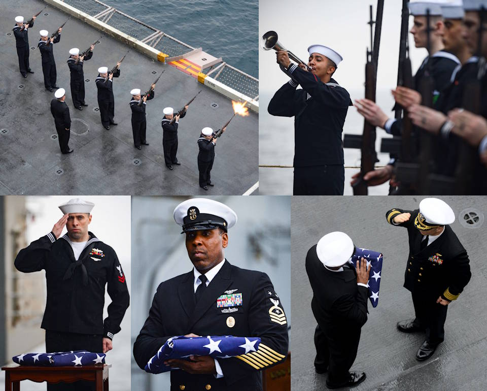 December 28, 2019 - A solemn full honors burial-at-sea ceremony aboard the aircraft carrier USS Harry S. Truman (CVN 75) in the Arabian Sea. (Image created by USA Patriotism! from U.S. Navy photos by Mass Communication Specialist Seaman Apprentice Isaac Esposito)