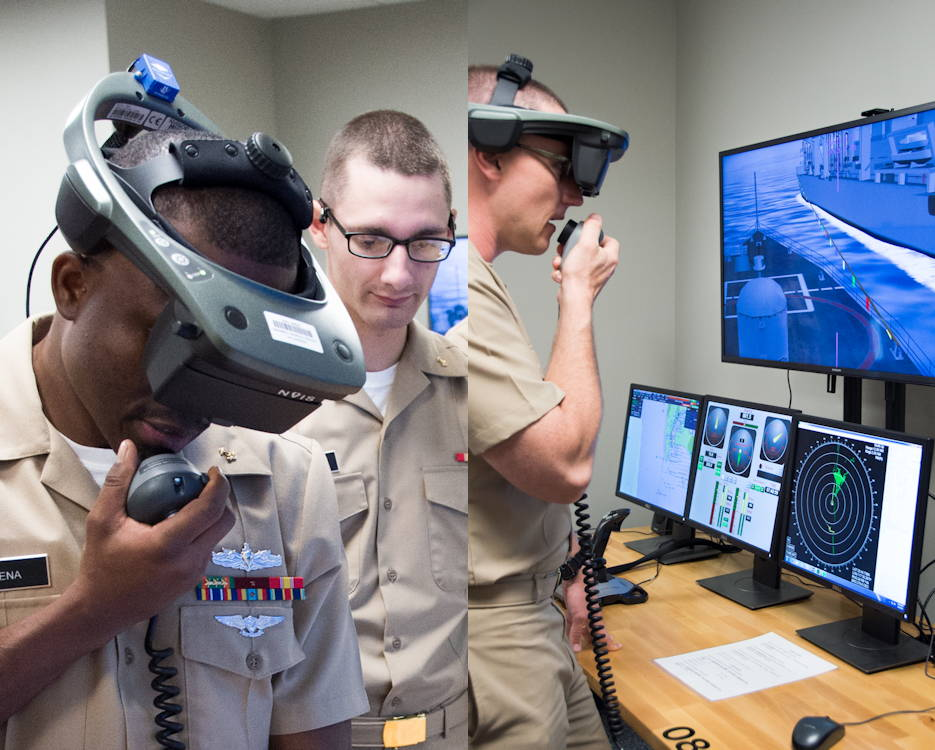 August 8, 2019 - U.S Navy Officer Candidate School (OCS) class 16-19 trains using the Conning Officer Virtual Environment (COVE) at Officer Training Command in Newport, Rhode Island (OTCN). This training familiarizes students with the use of radar equipment through scenarios. (Image created by USA Patriotism! from U.S Navy photos by Darwin Lam)