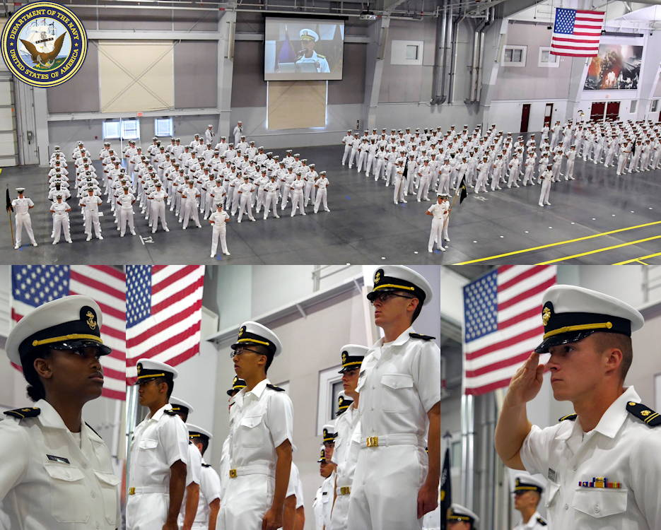 August 13, 2019 - Naval Reserve Officers Training Corps (NROTC) midshipmen candidates stand in formation in Midway Ceremonial Drill Hall at Recruit Training Command (RTC) during their graduation ceremony marking the completion NROTC New Student Indoctrination Cycle 2. (Image created by USA Patriotism! from U.S. Navy photos by Scott Thornbloom and Mass Communication Specialist 1st Class Amanda Kitchner)