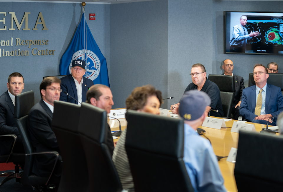September 1, 2019 - President Donald J. Trump, joined by Acting Secretary of the Department of Homeland Security Kevin McAleenan and Acting FEMA Administrator Pete Gaynor, attends a briefing on the current directional forecast of Hurricane Dorian at the Federal Emergency Management Agency (FEMA) headquarters in Washington, D.C. (Image created by USA Patriotism! from official White House photo by Shealah Craighead)