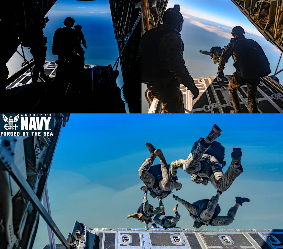 November 6, 2019 – Explosive ordnance disposal technicians, assigned to Explosive Ordnance Disposal Mobile Unit (EODMU) 8, conduct military free-fall training with Spanish service members in Rota, Spain. (Image created by USA Patriotism! from U.S. Navy photo by Mass Communication Specialist 1st Class Scott Bigley)