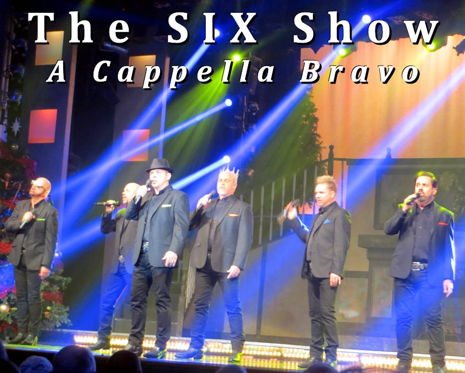 The talented brothers of the must see SIX show in Branson, Missouri, are unique entertainers ... performing a cappella with incredible beatbox vocals and harmonizing a variety of music styles along with humorous interaction ... as they did in their November 7th show during Branson's 2019 Veterans Week. (Photo and Image by USA Patriotism!)