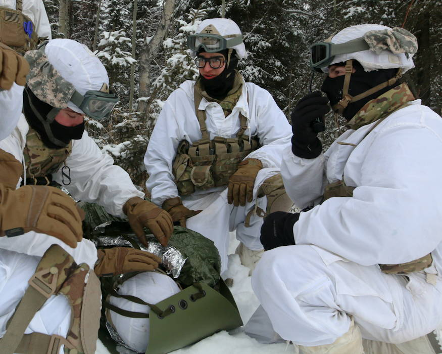 February 20, 2019 - Paratroopers with 1st Squadron, 40th Cavalry Regiment (Airborne), 4th Infantry Brigade Combat Team (Airborne), 25th Infantry Division, U.S. Army Alaska, prepare a mock casualty for evacuation by helicopter at Joint Base Elmendorf-Richardson, Alaska. (U.S. Army photo by Sgt. Alex Skripnichuk)