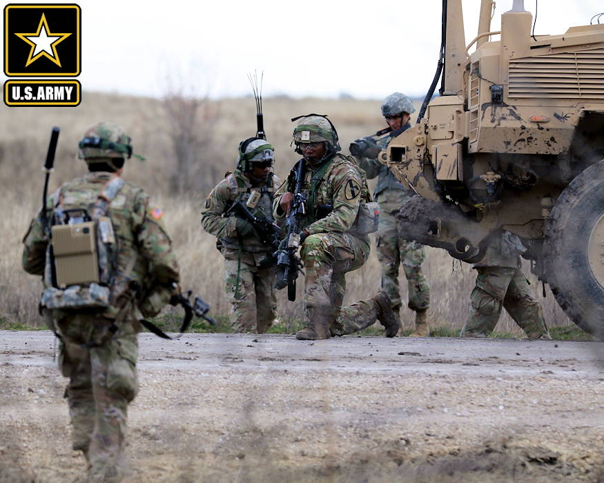 January 25, 2019 - Soldiers from U.S. Army 8th Brigade Engineer Battalion, 2nd Armored Brigade Combat Team, 1st Cavalry Division, dismount and search for explosives as part of route clearance training at Fort Hood, Texas during Pegasus Forge IV. (Image created by USA Patriotism! from U.S. Army photo by Master Sgt. Jacob Caldwell)