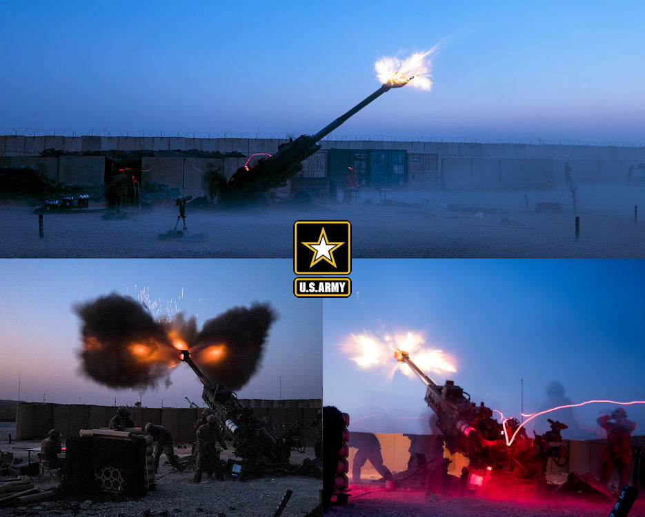 August 10, 2019 - Soldiers assigned to the 2nd Battalion, 32nd Field Artillery, 1st Brigade Combat Team, 101st Airborne Division, fire a M777 towed 155 mm Howitzer on Qayyarah West Airfield, Iraq. The Soldiers conducted a fire mission to disrupt known enemy positions. As long as Daesh presents a threat, Combined Joint Task Force – Operation Inherent Resolve remains committed to enabling its defeat. (Image created by USA Patriotism! from U.S. Army Reserve photos by Spc. DeAndre Pierce)