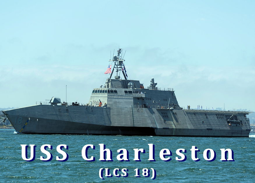 April 19, 2019 - The Independence-variant littoral combat ship USS Charleston (LCS 18) sails through San Diego Bay in transit to the ship's Naval Base San Diego homeport, successfully completing the ship's maiden voyage from the Austal USA shipyard in Mobile, Alabama. Charleston is the ninth ship in the littoral combat ship Independence-variant class and is the eleventh LCS to be homeported in San Diego. (Image created by USA Patriotism! from U.S. Navy photo by Mass Communication Specialist 1st Class Woody S. Paschall)