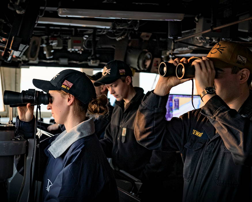 February 19, 2019 - Ensign Shae Timmons, left, and Lt. j.g. Zachary Stewart stand watch aboard the Arleigh Burke-class guided-missile destroyer USS Donald Cook (DDG 75) as the ship transits the Dardanelles Strait. Donald Cook, forward-deployed to Rota, Spain, is on its eighth patrol in the U.S. 6th Fleet area of operations in support of U.S. national security interests in Europe and Africa. (U.S. Navy photo by Mass Communication Specialist 2nd Class Ford William)