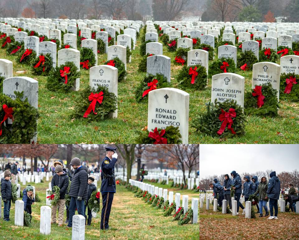Wreaths Across America Day at Arlington National Cemetery, Arlington, Virginia on December 14, 2019 involving over 38,000 volunteers placing wreaths at every gravesite honoring all who served in the military now in eternal rest with special remembrance of the fallen ones. (Image created by USA Patriotism! from U.S. Army photos by Elizabeth Fraser, Arlington National Cemetery)