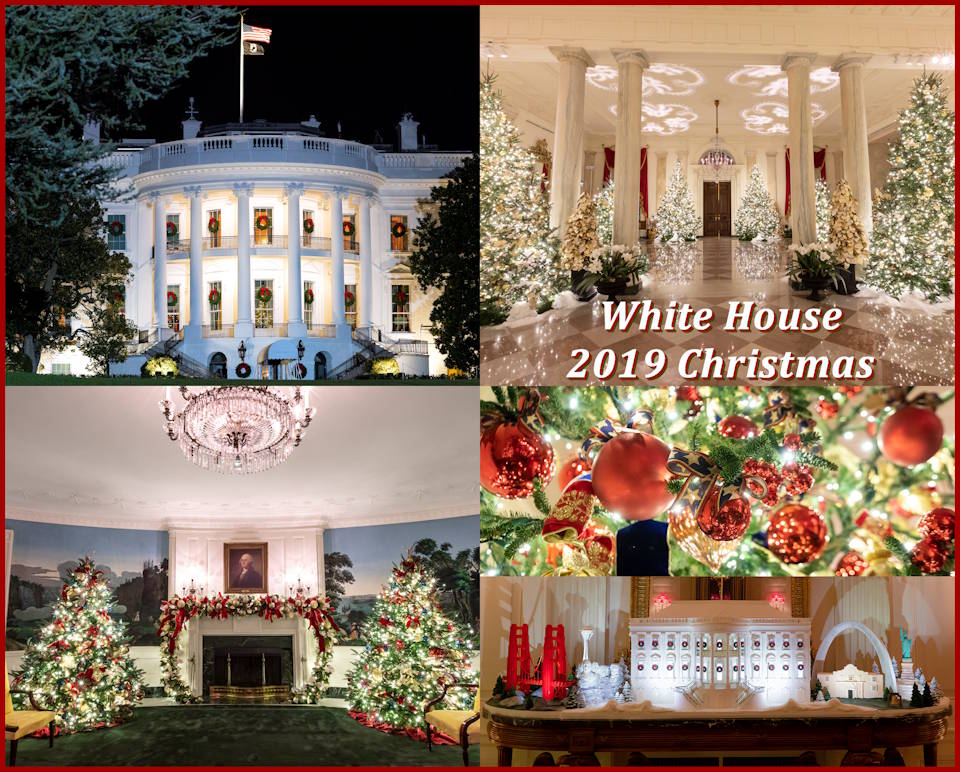 A glimpse of the White House shining holiday season brightly with its 2019 Christmas decorations. (Image created by USA Patriotism! from Official White House photos by Andrea Hanks and Joyce N. Boghosian)