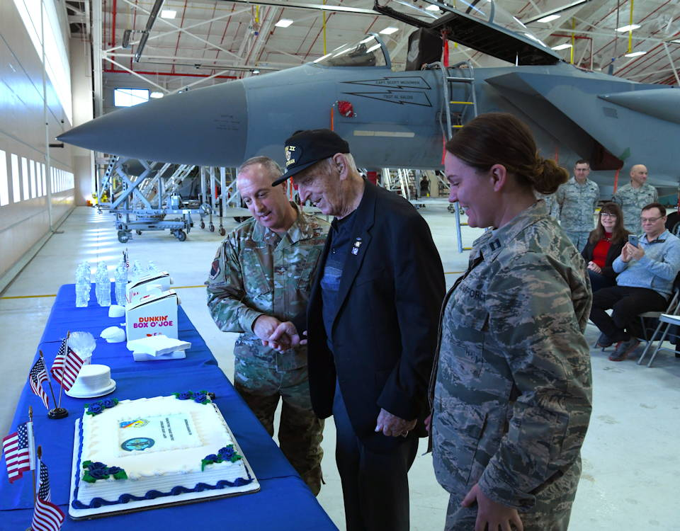 On November 29, 2019, the Air National Guard 104th Fighter Wing in Westfield, Massachusetts threw a surprise birthday party for retired Col. Edwin J. Malikowski on November 25, 2019, who turned 100 on November 29th.  Malikowski spent 39 years in service through the Army and Air National Guard. (U.S. Air National Guard Photo by Airman Camille Lienau)