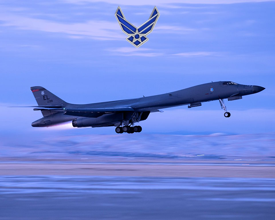 November 12, 2020 - A B-1B Lancer assigned to the 34th Bomb Squadron takes off in support of a Bomber Task Force mission from Ellsworth Air Force Base, South Dakota. Bomber Task Force missions demonstrate how the Dynamic Force Employment Model enables strategic bombers to be anywhere on the globe at a moment's notice. (Image created by USA Patriotism! from U.S. Air Force photo by Airman Jonah Fronk.)