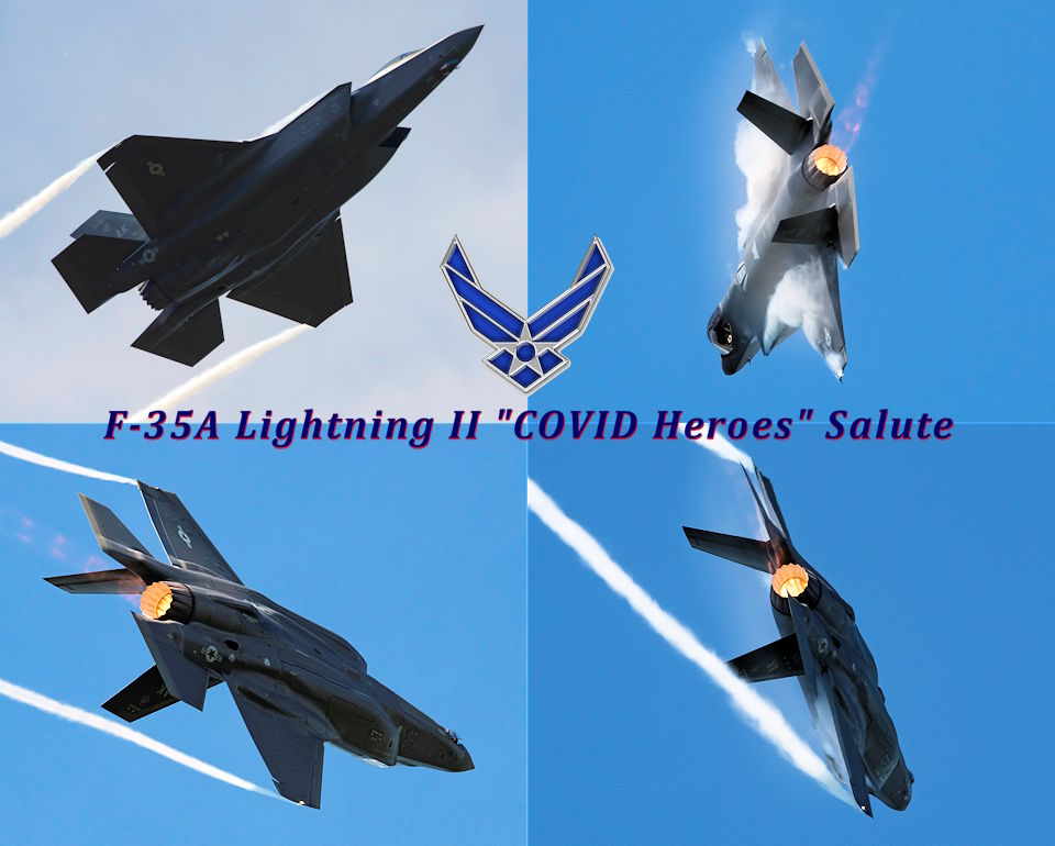 "July 10, 2020 - A U.S. Air Force F-35A Lightning II out of Eielson Air Force Base, Alaska, maneuvers over Joint Base Elmendorf Richardson, Alaska , as part of JBER Salutes, a two-day event to show appreciation to service members and nearly 100 Anchorage-area ""COVID Heroes"" and their guests. (Image created by USA Patriotism! from U.S. Air Force photos by Alejandro Peña)"