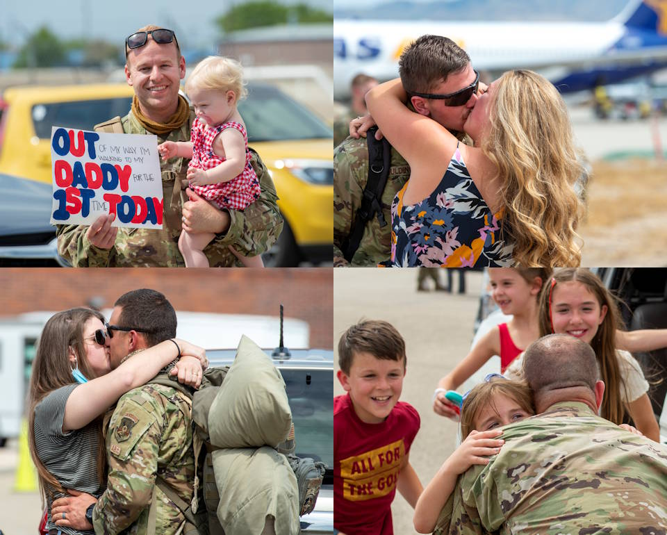 August 16, 2020 - Idaho Air National Guard Airmen reunite with loved ones at Gowen Field, Boise, Idaho, after a deployment to various locations throughout Southwest Asia amid the COVID-19 pandemic. (Image created by USA Patriotism! from U.S. Air National Guard photos by Ryan White)